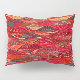 V35 Red Traditional Moroccan Artwork Pattern Pillow Sham