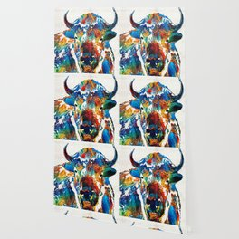 Colorful Buffalo Art - Sacred - By Sharon Cummings Wallpaper