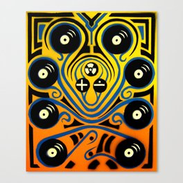DJ Octopus in blue Canvas Print