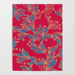 Winter Floral Pattern Poster