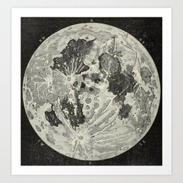 Vintage Moon Map Art Print