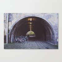 bicycles Canvas Prints featuring Bicycles by Megan Curran