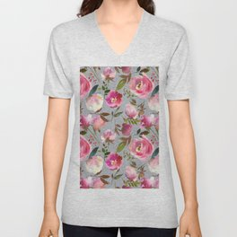 Gray blush pink coral yellow hand painted floral Unisex V-Neck