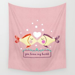 VALENTINE'S FISH IN LOVE Wall Tapestry