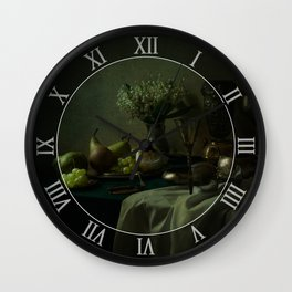 Still life with metal dishes, fruits and fresh flowers Wall Clock