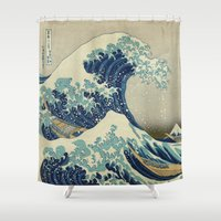 coffe Shower Curtains featuring The Great Wave off Kanagawa by Palazzo Art Gallery