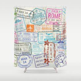 Vintage World Map with Passport Stamps Shower Curtain