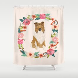 rough collie floral wreath dog breed pet portrait pure breed dog lovers Shower Curtain