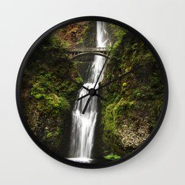 Multnomah Falls, located in the Columbia River Gorge - Color Photo Wall Clock