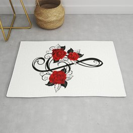 Black Musical Key with Red Roses Rug