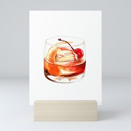 Cocktails. Old Fashioned. Watercolor Painting. Mini Art Print