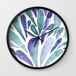 Watercolor artistic drops - purple and turquoise Wall Clock