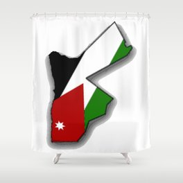 Jordanian Map with Jordanian Flag Shower Curtain