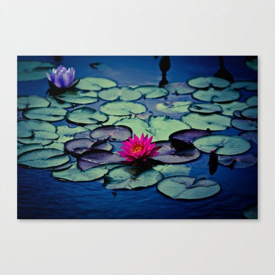 Twilight at the Lily Pond Canvas Print