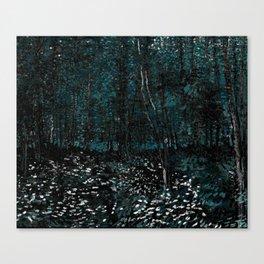 Vincent Van Gogh Trees & Underwood Dark Teal Canvas Print