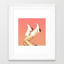 These Boots - Living Coral Framed Art Print
