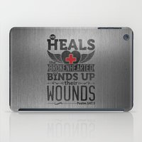 health iPad Cases featuring He health the brokenhearted by biblebox