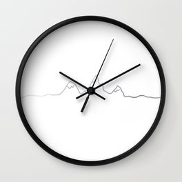 Mountains line silver Wall Clock
