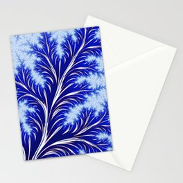 Abstract Blue Christmas Tree Branch with White Snowflakes Stationery Cards