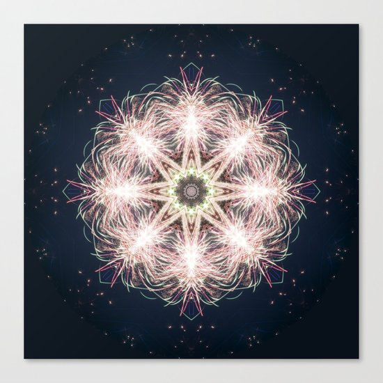 New year colorful sparkly fireworks mandala Canvas Print
