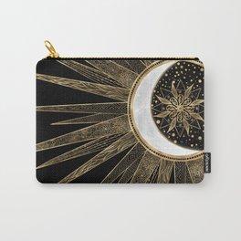 Sun Moon Gold Doodles Mandala Black Design Carry-All Pouch