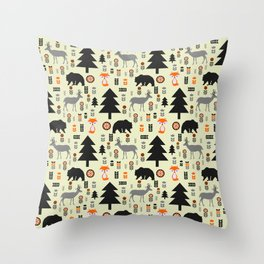 Winter bears, foxes and deer Throw Pillow