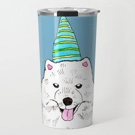 Samoyed with Party Hat Travel Mug