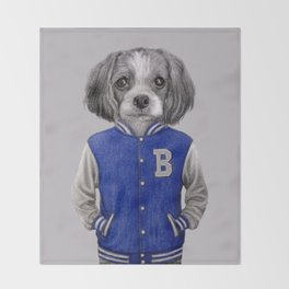 dog boy portrait Throw Blanket