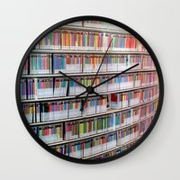 bookworm Wall Clocks featuring Bookworm by Anabella Nolasco