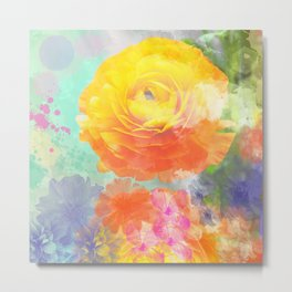 Artistic painterly Floral design with Ranonculus flower Metal Print