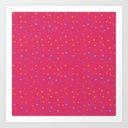 St. Valentine's Day Pattern. Pink pattern, blue and yellow small hearts Art Print