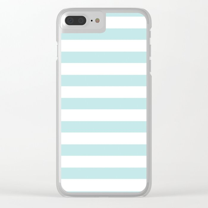 Simply Striped in Succulent Blue Stripes on White Clear iPhone Case