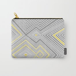 White, Yellow, and Gray Lines - Illusion Carry-All Pouch