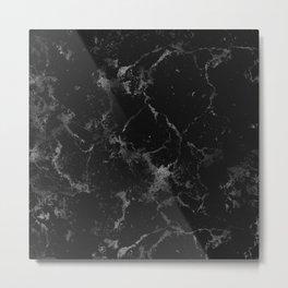 Vintage modern black gray white stylish marble Metal Print