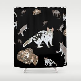 The Eastern Quoll (Dasyurus viverrinus)  on black Shower Curtain