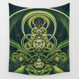 Time Shell IV. Green Abstract Geometry Wall Tapestry