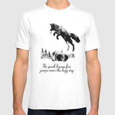 The quick brown fox jumps over the lazy dog Mens Fitted Tee White MEDIUM