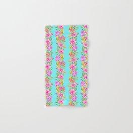 Luscious Jungle Flower And Leaf Stripes on Turquoise Hand & Bath Towel