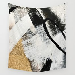 Armor [9]: a minimal abstract piece in black white and gold by Alyssa Hamilton Art Wall Tapestry