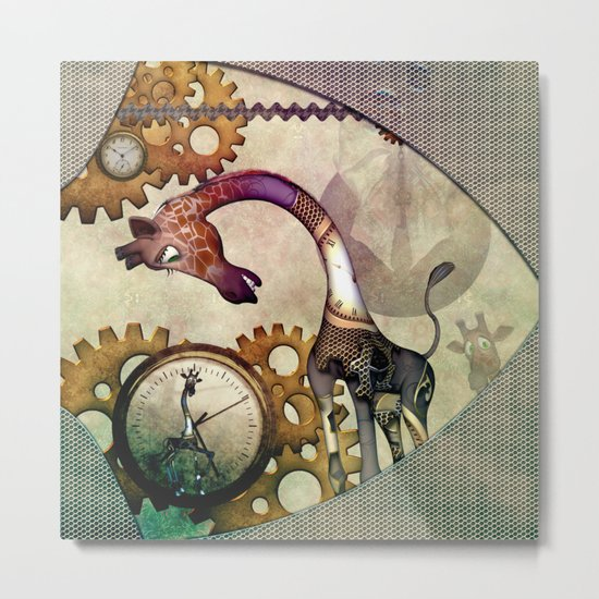 Funny giraffe, steampunk with clocks and gears Metal Print