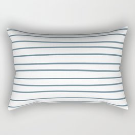 Inspired by Behr Blueprint Blue S470-5 Hand Drawn Horizontal Lines on White Rectangular Pillow