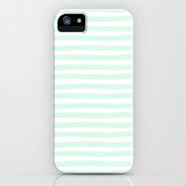Mint Aqua Hand Drawn Horizontal Stripes iPhone Case