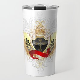 Black shield with golden wings Travel Mug