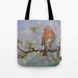 Red Robin Small bird on a blooming twig Wildlife spring scene Pastel drawing Tote Bag