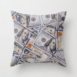 Hundred Dollar Bills Scattered Throw Pillow