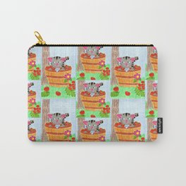 Tabby cat in an apple basket Carry-All Pouch