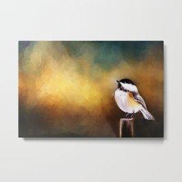 Chickadee in Morning Prayer Metal Print