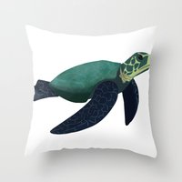 sea turtle Throw Pillows featuring Turtle by Imaginative Ink