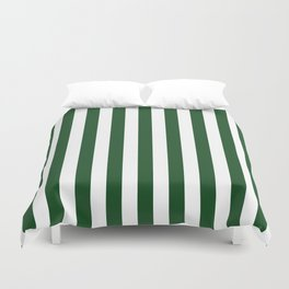 Large Forest Green and White Rustic Vertical Beach Stripes Duvet Cover