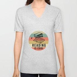 Reading is cool vintage Unisex V-Neck